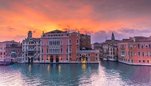 Venice palaces on water