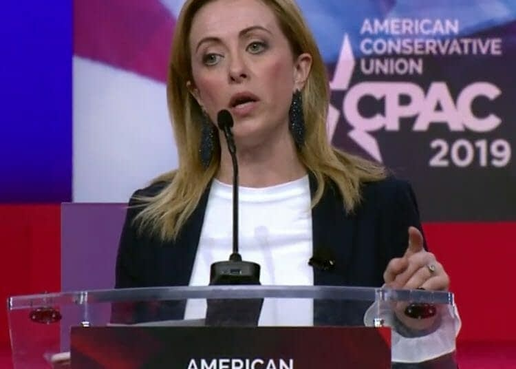 Giorgia Meloni giving a speech at Conservative Political Action Conference (CPAC) 2019