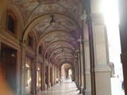 Bologna portici, or arcades, covered walkways with marble floors