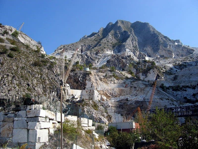 Apuan Alps marble mountain and quarry