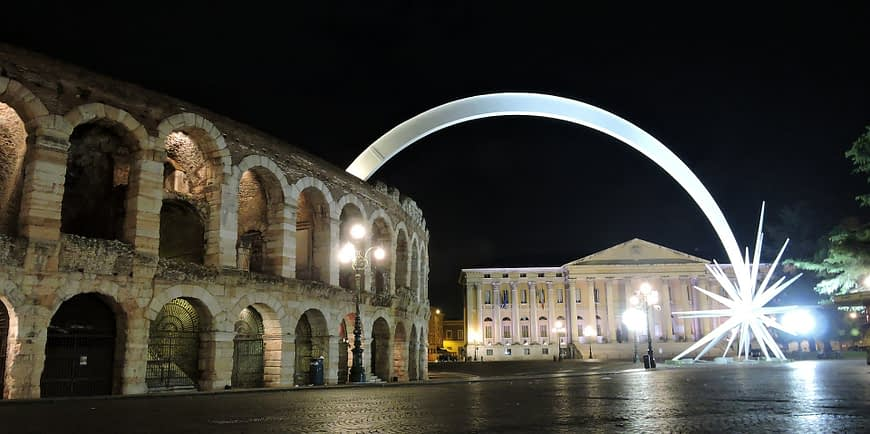 Christmas Comet over Arena of Verona, Italy