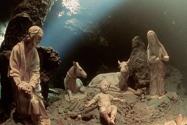 Amalfi Underwater Nativity Scene in Emerald Grotto