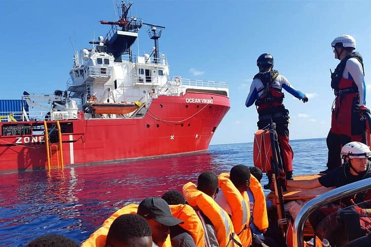 Non-governmental organisation (NGO) ship transporting African migrants to Italy