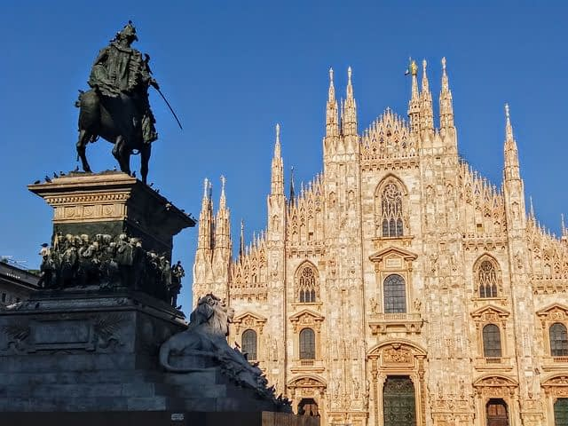 Milan Cathedral and Statue of King Victor Emmanuel II in the Cathedral Square