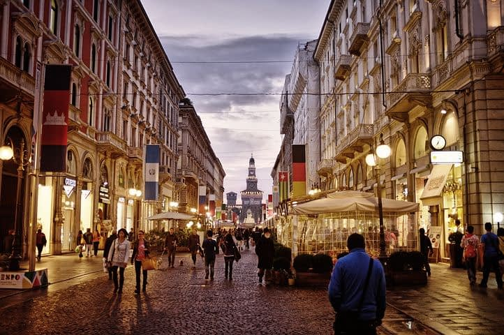 Milan city centre, with Castello Sforzesco at end of street