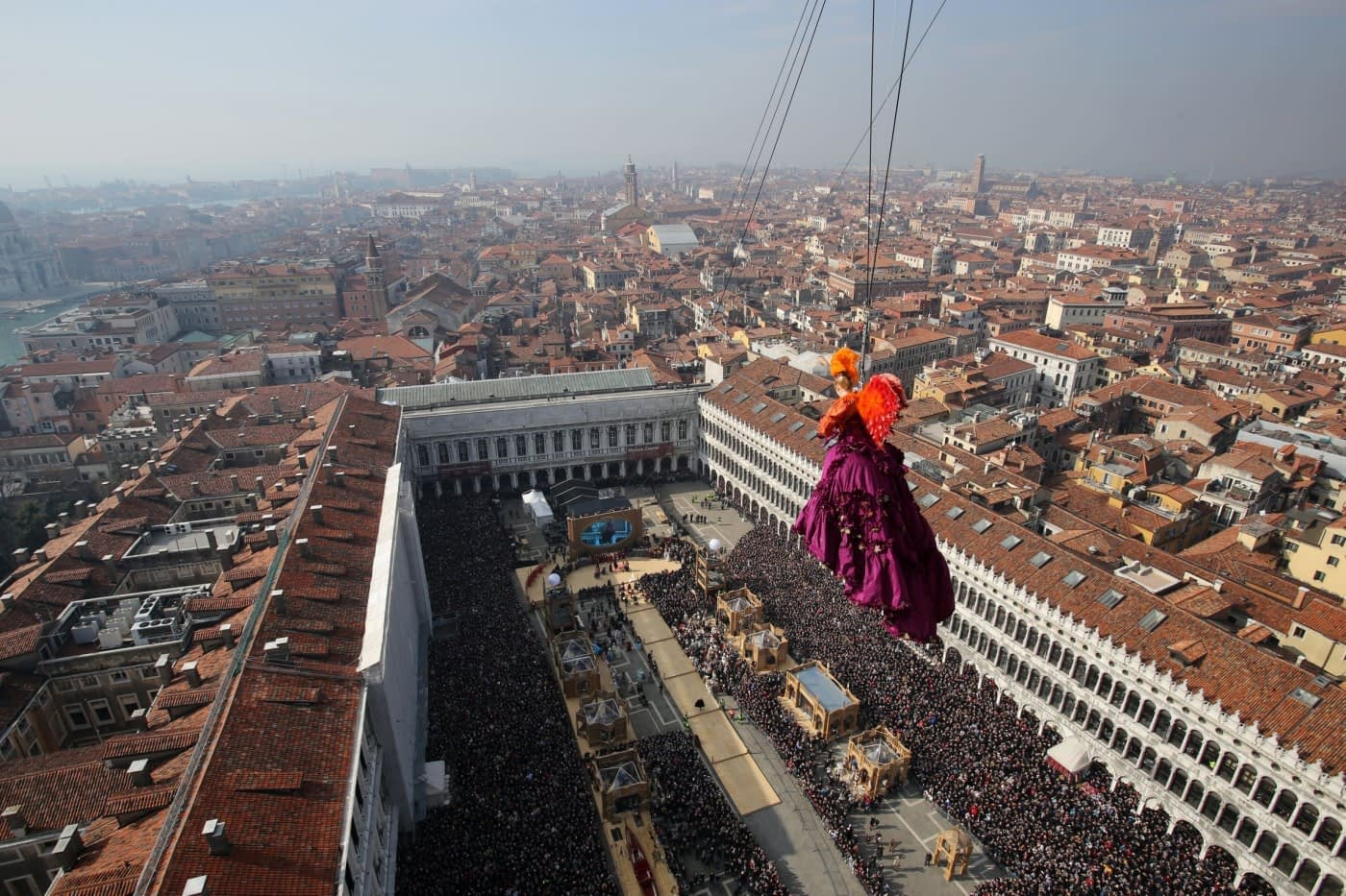 Venice Carnival Flight of the Angel over St Mark's Square