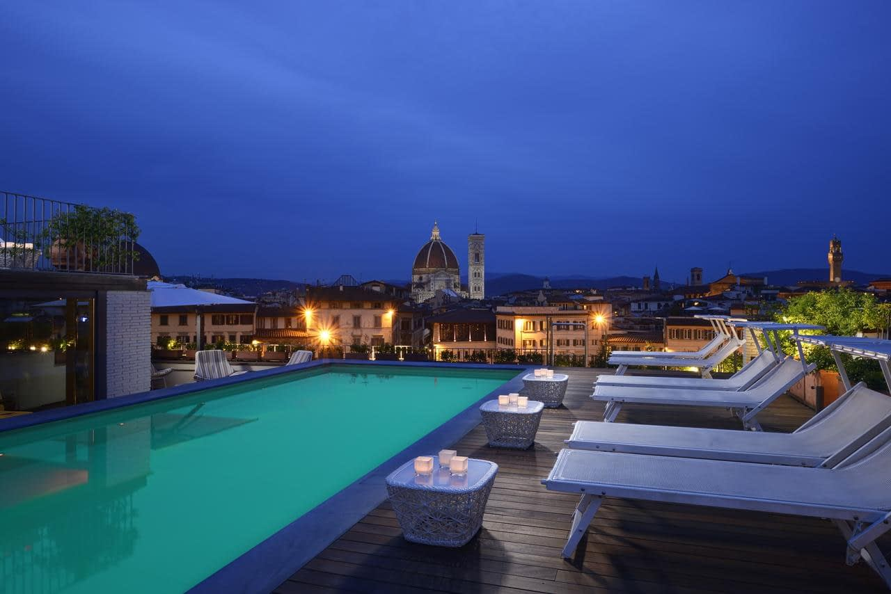 Florence - Grand Hotel Minerva rooftop pool with Cathedral view