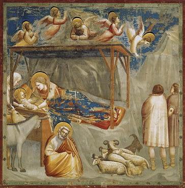 Giotto's Nativity, Birth of Jesus, Scrovegni Chapel, Padua, Italy