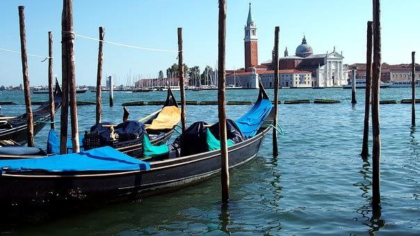 Gondolas on St Marks Basin in Venice