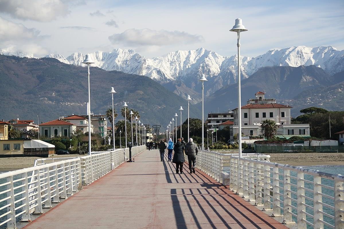The Apuan Alps from the Versilia Riviera sea