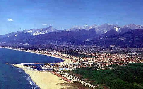 Viareggio, Tuscany coast, Italy - the sea and the Apuane Alps, Versilia Riviera