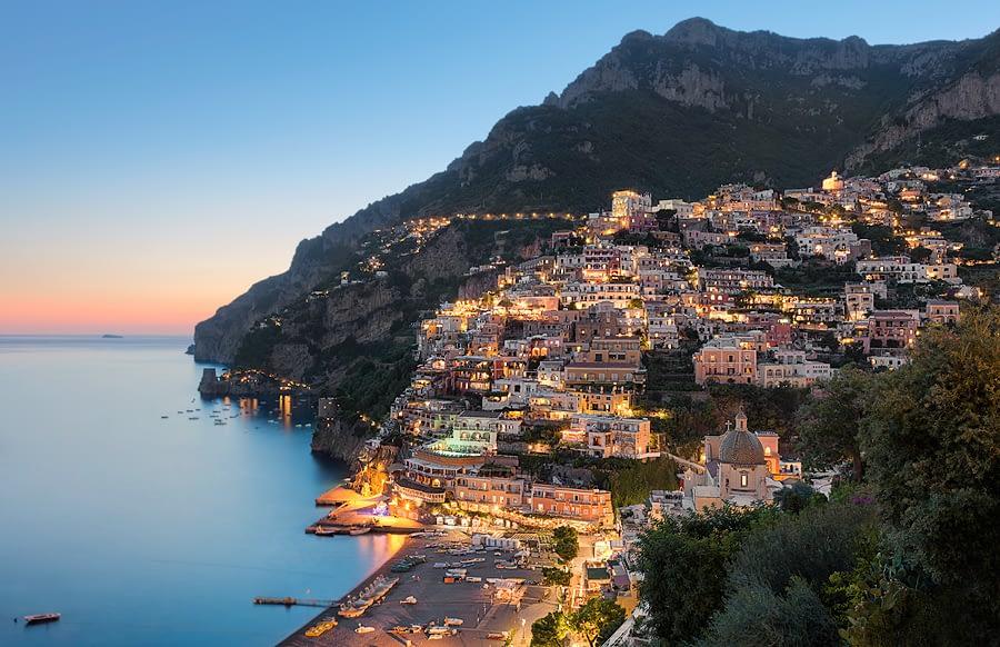 Positano, Amalfi Coast, at dusk