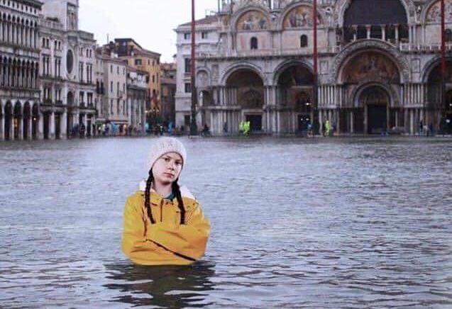 Greta Thunberg in Flooded Venice