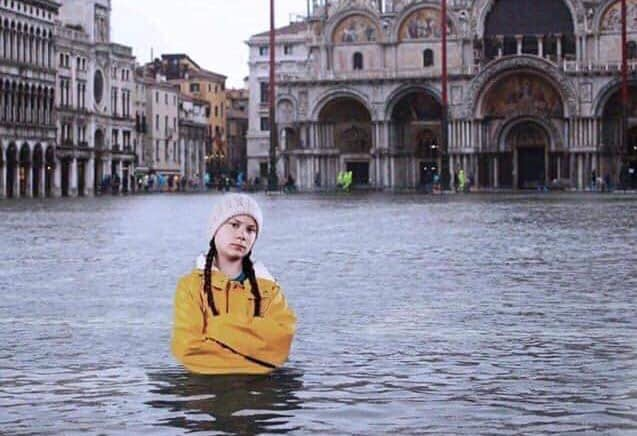 Greta Thunberg in Flooded Venice