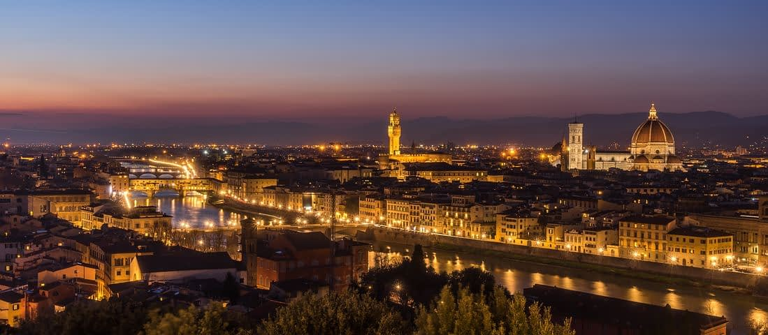 Florence skyline by night