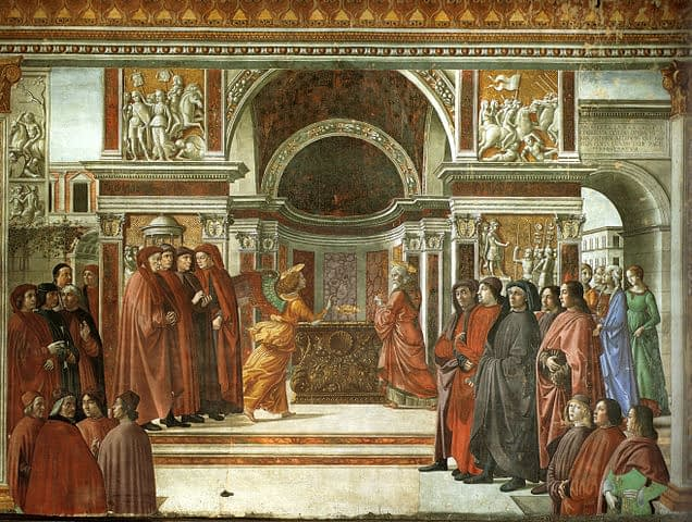 Florence, Cappella Tornabuoni: Annuncio dell'Angelo a Zaccaria
