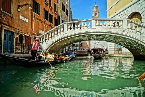 Venice canal with gondola