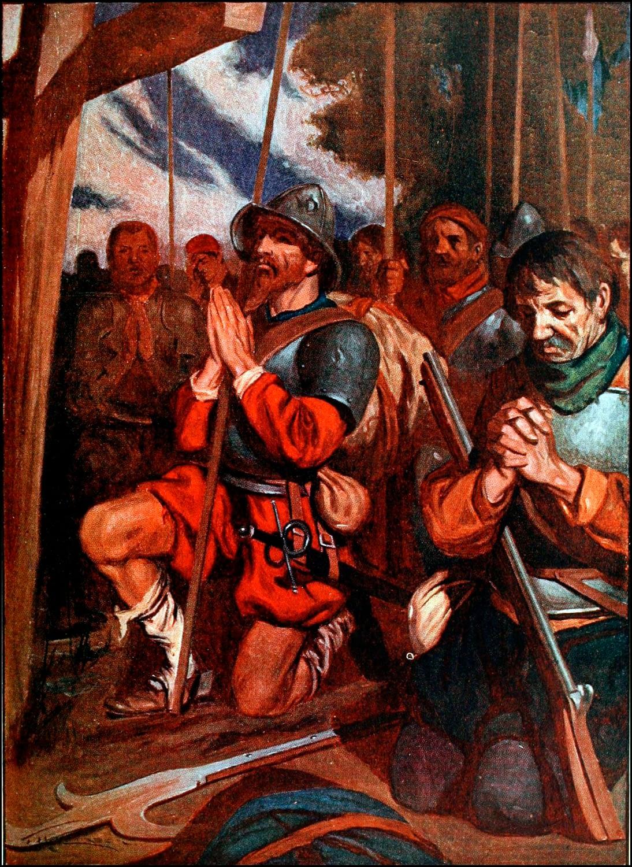 Conquistadors pray before entering Tenochtitlan