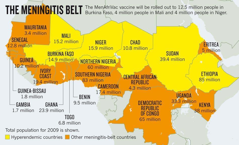 Meningitis Belt, in Africa