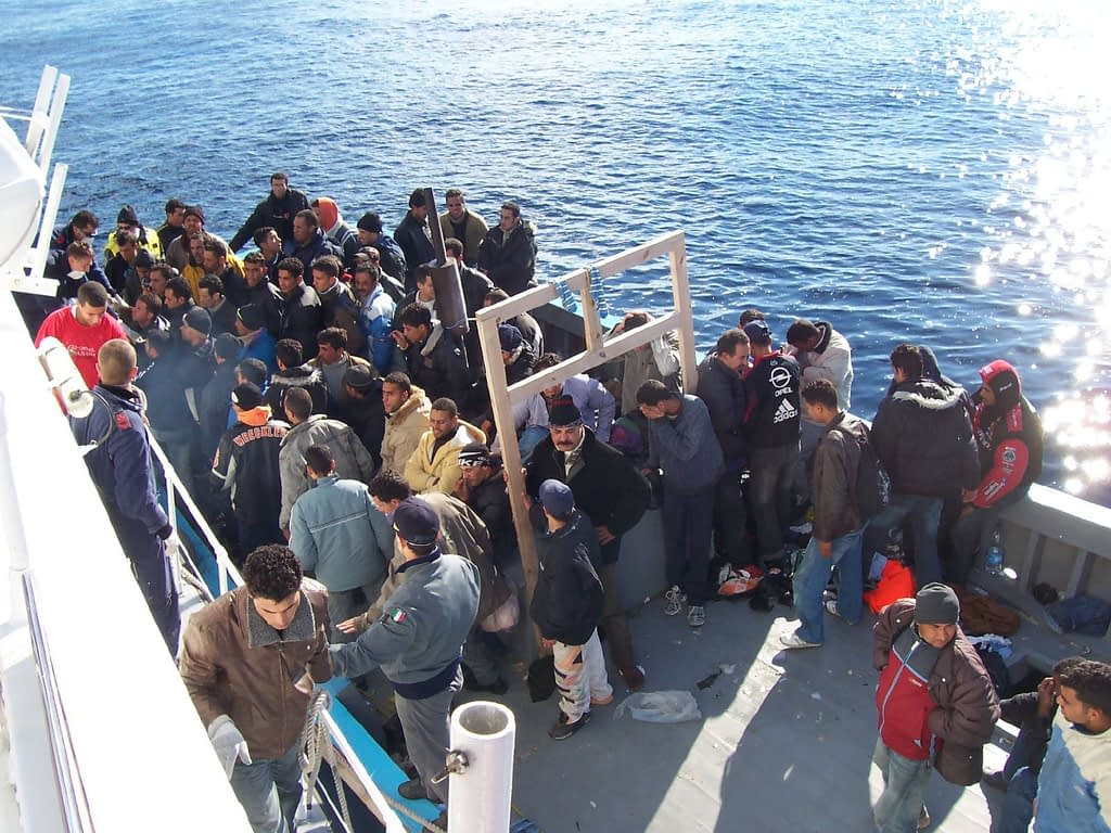 Immigrants Arriving at the island of Lampedusa, Sicily, Italy