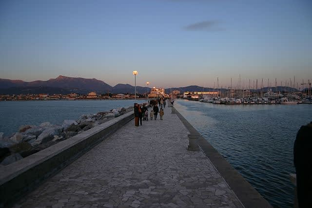 Viareggio pier at dusk, 5 minutes' walk from the flat