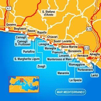 Riviera di Levante map, Liguria, Italy