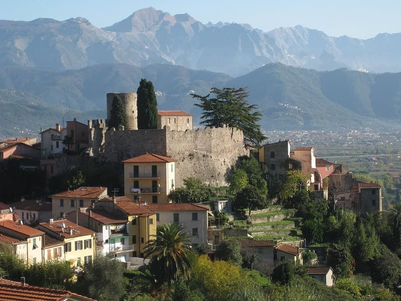 Ameglia Castle with the background of Apuan Alps