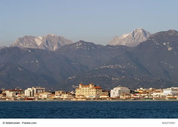 Viareggio sea and Apuan Alps mountains