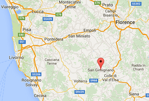 Map showing the location of San Gimignano in Tuscany