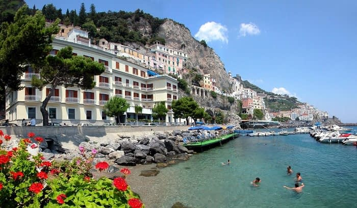The beach and sea in front of Amalfi Hotel La Bussola