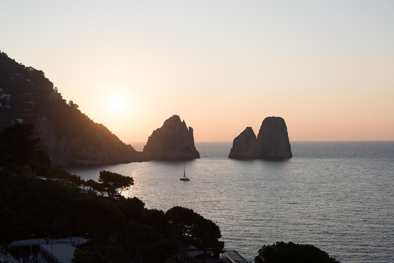Hotel Weber Ambassador in Capri - the view of the Faraglioni from the Hotel Weber Ambassador at dusk