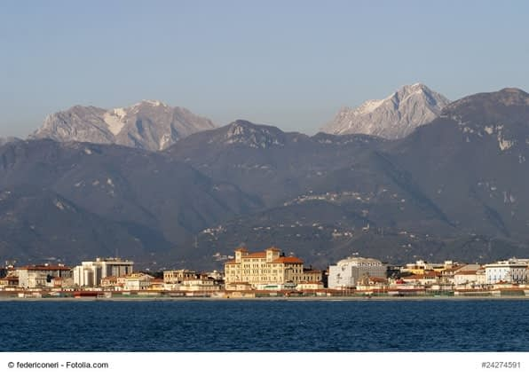 Viareggio from the sea with Apuan Alps mountains
