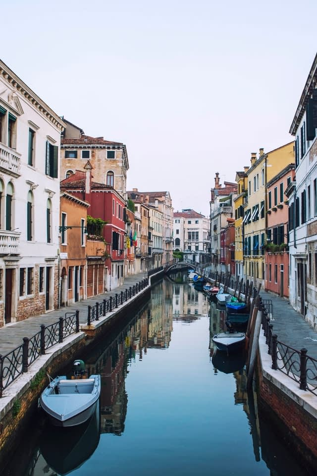 Deserted canal in Venice, Italy