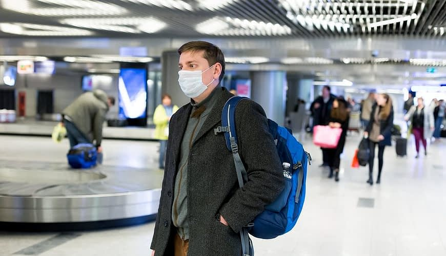 Coronavirus mask worn in an airport