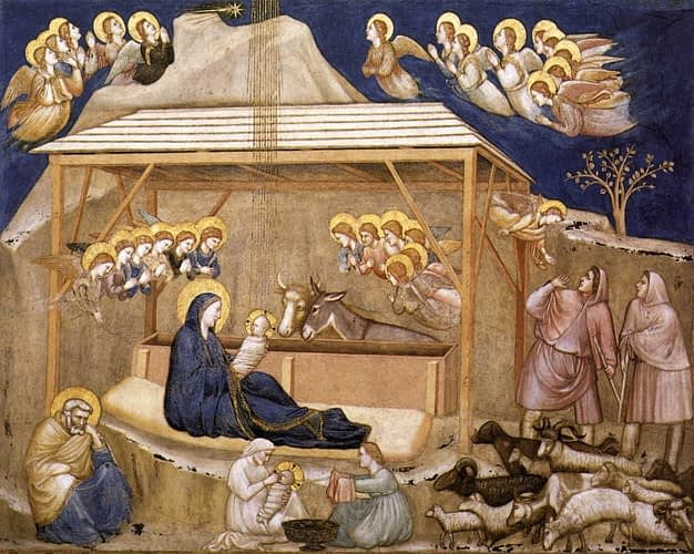 Giotto's Nativity, Birth of Jesus, Assisi Lower Church, Italy