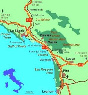 Map of Viareggio & Versilia Tuscany Italy