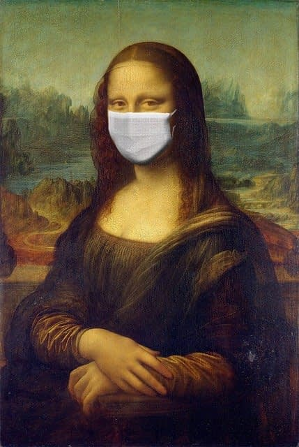 Monna Lisa with Coronavirus Mask