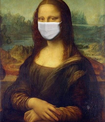 Monna Lisa with Coronavirus Mask