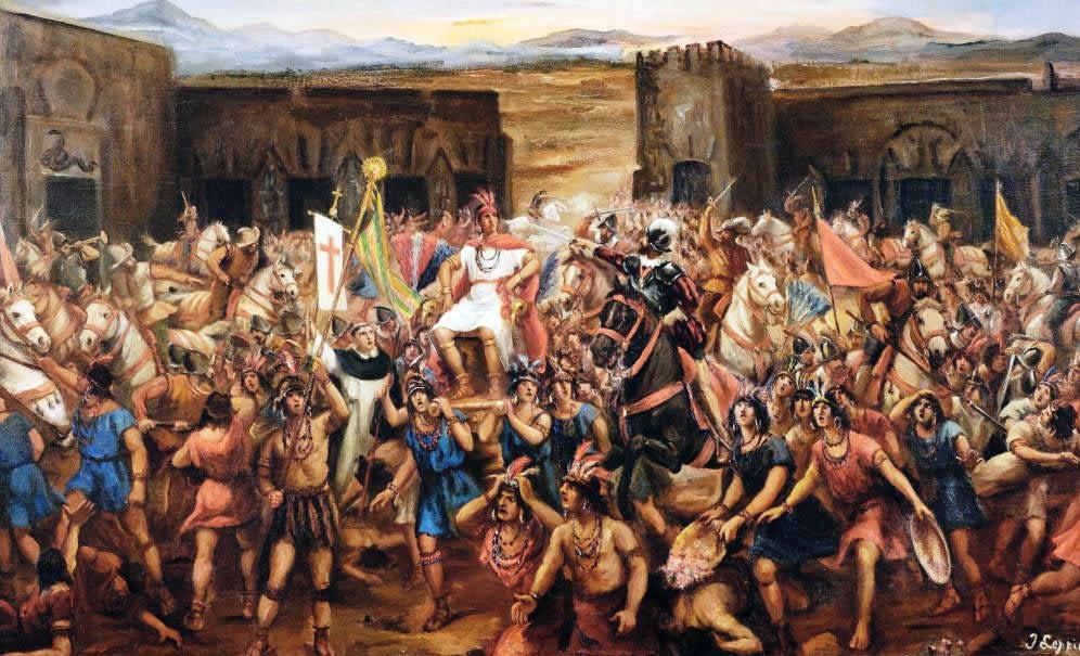 Inca Ruler Atahualpa capture, by artist Juan Lepiani