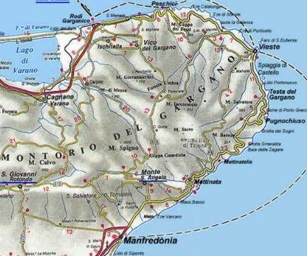 Detailed map of Gargano Peninsula, Puglia