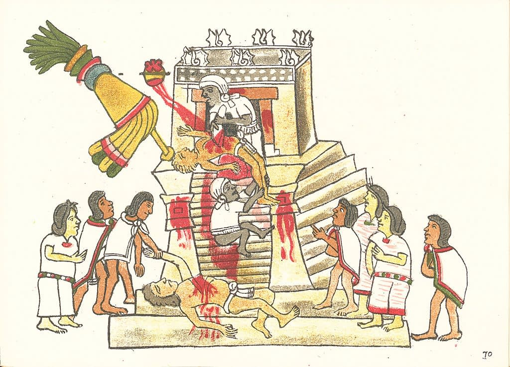Aztec human sacrifice from Codex Magliabechiano