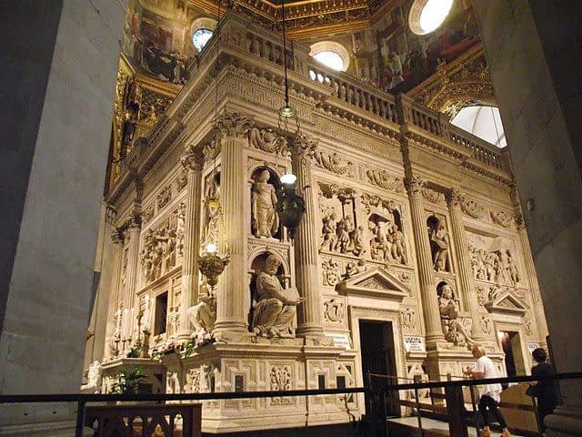The marble screen encasing the Holy House in the Loreto Basilica