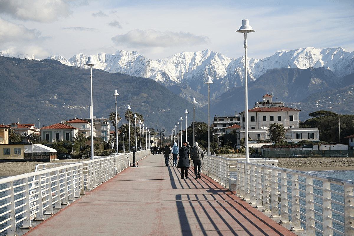 The Apuan Alps from the Versilia Riviera sea