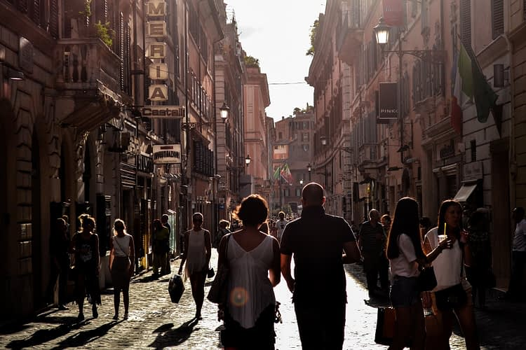 People walking in an Italian street