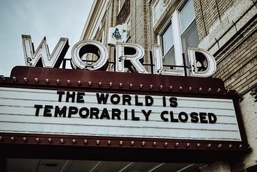 Coronavirus Lockdown sign The world is temporarily closed