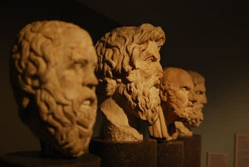 Busts of ancient Greek philosophers