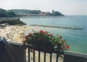 Lerici, Bay of La Spezia - Lerici Castle overlooking the beautiful Bay of Poets seen from Florida Hotel in Lerici