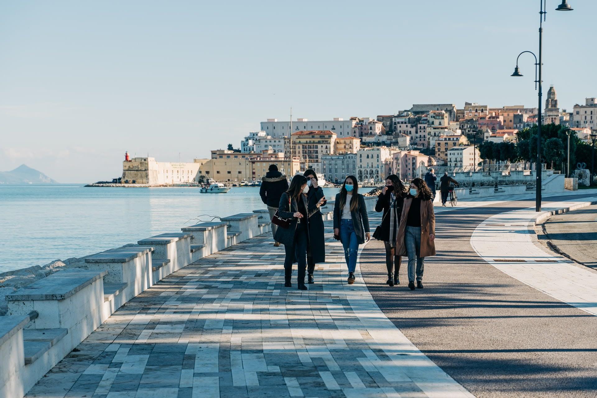 Italian Seaside Resort Gaeta Seafront Promenade during Covid