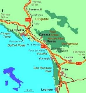 Map of Viareggio in Tuscany coast, Italy
